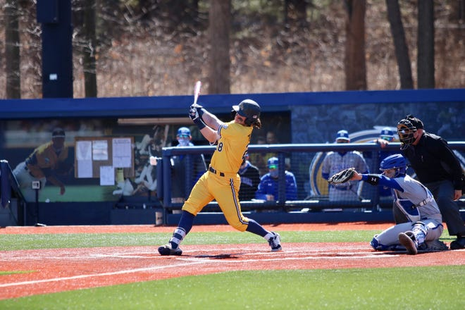 Kent State senior Michael Turner, tied for the team lead with three home runs this season, takes a swing during last weekend's series against Seton Hall at Schoonover Stadium.