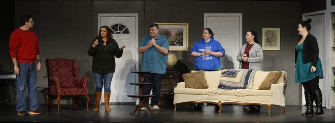 "(From left) Chad Spurling, Jackie Sibley-Newton, Greg Dixon, Leslie Brown, Sara Corbin and Mary Grace Keller rehearse a scene from ""Til Beth Do Us Part."""