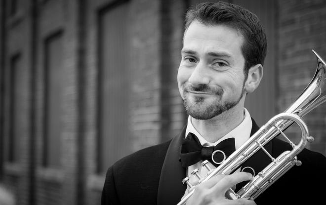 """Aaron Romm joins the other members of The Venice Symphony Brass Quintet in the Artist Series Concerts outdoor program """"Ventures in Brass"""" at Nathan Benderson Park."""