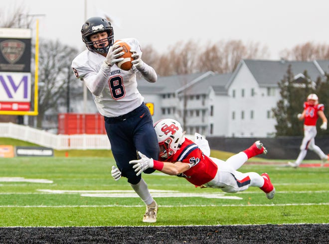 Rochester's Hank Beatty (8) makes a diving catch for a touchdown against Chicago St. Rita's Brandon Norred (28) in the first half during the IHSA Class 5A State Championship game at Huskie Stadium on the campus of Northern Illinois University on Nov. 30, 2019. [Justin L. Fowler/The State Journal-Register]