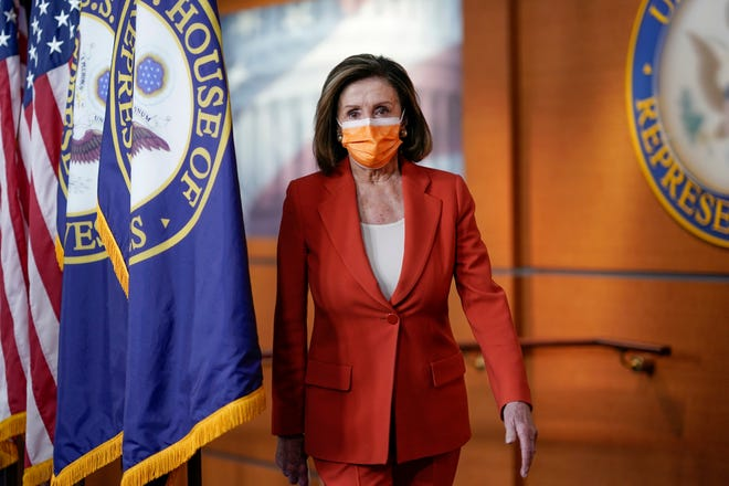 Speaker of the House Nancy Pelosi, D-Calif., holds a news conference on passage of gun violence prevention legislation, at the Capitol in Washington, Thursday, March 11, 2021. (AP Photo/J. Scott Applewhite)