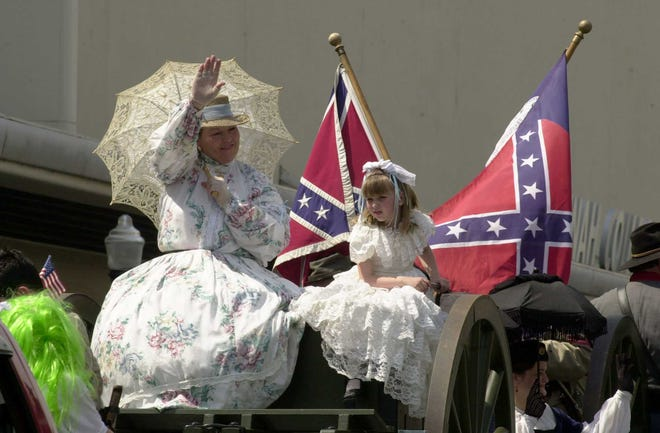 The Sons of Confederate Veterans and the United Daughters of the Confederacy frequently participate in the Savannah St. Patrick's Day parade with flags on full display.
