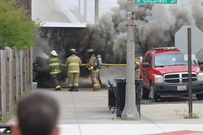 Kewanee firefighters battle the Second Street Fire last May.