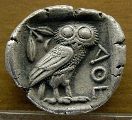 Ancient Athenian owl coin