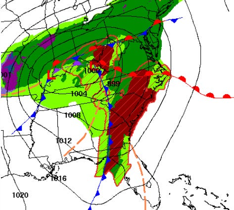 A strong cold front will drive a line of storms across the Carolinas, resulting in an increased risk for severe thunderstorms.