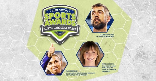 Three-time NFL MVP Aaron Rodgers, two-time FIFA World Cup Champion Alex Morgan and five-time Olympic gold medalist Katie Ledecky will be among a highly decorated group of presenters and guests for the North Carolina Coast High School Sports Awards.
