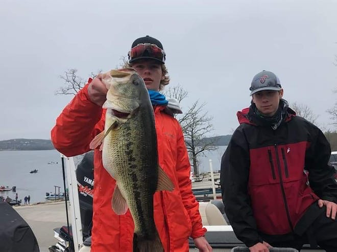 Circle's Trevor Cowman, right, and Levi Nice put together their first Kansas BASS Nation High School victory last Saturday at Table Rock Lake in Branson, Mo., thanks in part to this 6.54-pound largemouth bass.