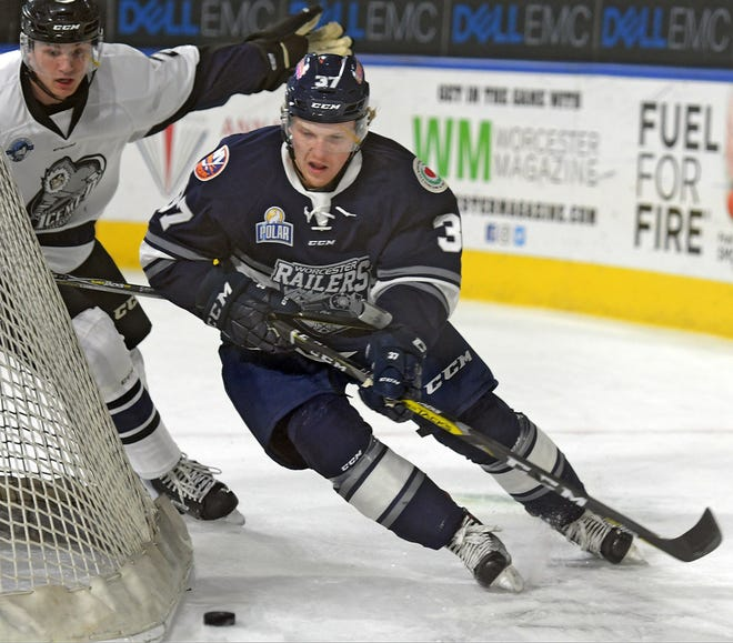 The Railers' Tommy Kelley wheels around the Jacksonville net during a game in January 2018.
