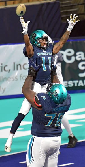 The Massachusetts Pirates and their fans hope to be celebrating touchdowns at the DCU Center like this one in 2019 by Devonn Brown when the team play its home opener May 22.