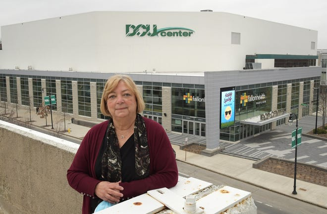 DCU Center General Manager Sandy Dunn stands Thursday outside the venue, where, thanks to state's pandemic reopening plan, the Massachusetts Pirates indoor football team will play its home opener May 22.