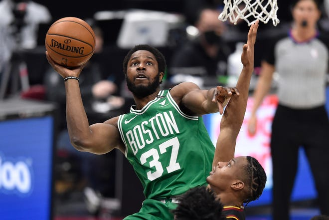 Celtics forward Semi Ojeleye drives to the basket against the Cavaliers during Wednesday night's second quarter in Cleveland.