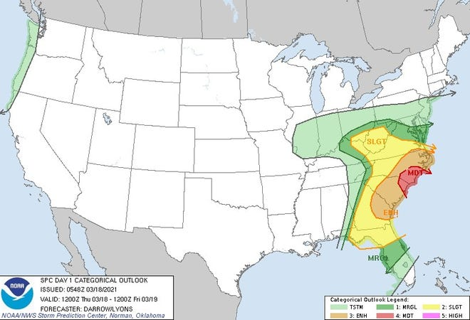 Widespread storms are likely in the red-shaded area, according to the Storm Prediction Center.