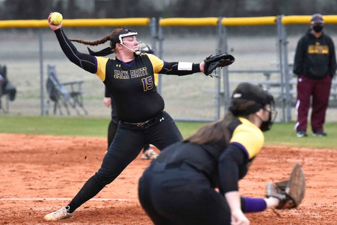 Jack Britt's Carlie Myrtle (15), a UNC signee, finished with 12 strikeouts in a complete-game shutout Wednesday against Lumberton.