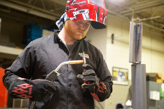 Tallon Powell of Boaz is one of the first students in the welding career track of the Industrial Systems Technology program at Snead State Community College.