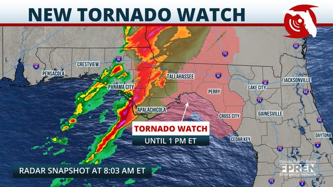 Tornado watches extend east across the Panhandle as severe thunderstorms move through March 18, 2021.