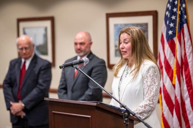 FBI Special Agent in Charge Rachel Rojas speaks during a press conference on March 18, 2021, to announce additional charges and developments in the federal case dealing with corruption in Lynn Haven.