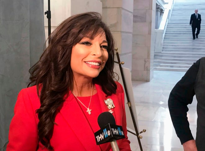 Jan Morgan talks to reporters at the Arkansas state Capitol in Little Rock on Feb. 26, 2018. Morgan, a gun-rights activist who ran unsuccessfully for governor three years ago said Wednesday, March 17, 2021, that she's challenging Sen. U.S. John Boozman, R-Ark., in the state's Republican primary in 2022. (AP Photo/Andrew Demillo, File)