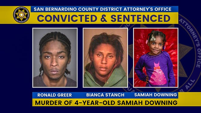 Ronald Greer and Bianca Stanch were each sentenced to 32 years to life on March 12, 2021, for their role in the murder and torture of 4-year-old Adelanto girl Samiah Downing.