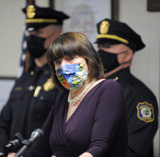 Middlesex District Attorney Marian Ryan speaks at a press conference in March of 2021.
