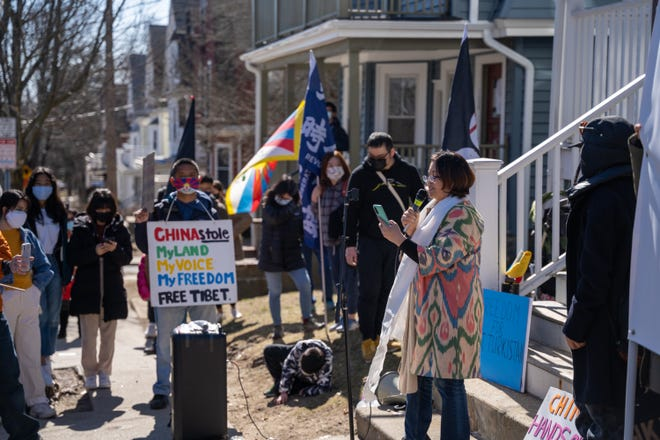 Maya Mitalipova of the Boston Uygher Association speaks at the March 13 protest outside Tufts' Confucius Institute.