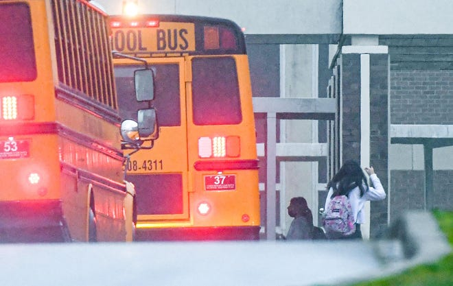 school busses lined up
