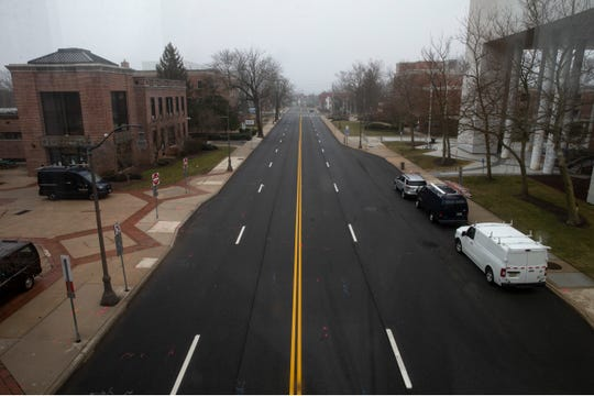 Hooper Avenue in downtown Toms River where it bisects the campus of Ocean County's government as seen here on Thursday, March 18, 2021.