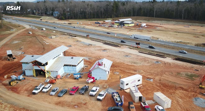 Work on two new rest areas along I-26 in Henderson County is progressing, as is evidenced in this drone photo provided by the N.C. DOT in March 2021. The eastbound rest area should be open in October 2021, the westbound building in May 2022.