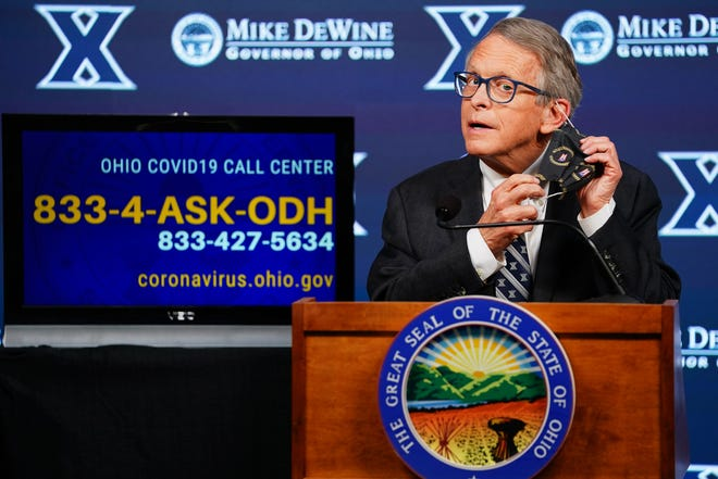 Ohio Gov. Mike DeWine delivers his daily coronavirus briefing Thursday after touring the pop-up mass vaccination site at Cintas Center in Cincinnati.