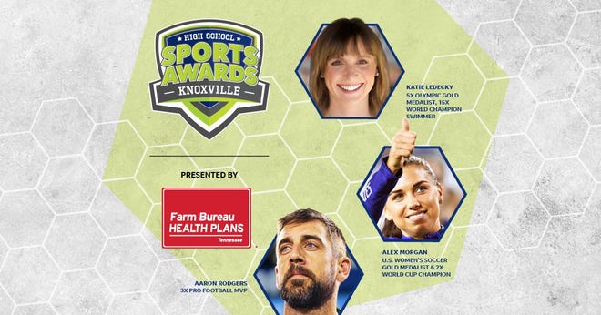 Three-time NFL MVP Aaron Rodgers, two-time FIFA World Cup Champion Alex Morgan and five-time Olympic gold medalist Katie Ledecky will be among a highly decorated group of presenters and guests for the Knoxville High School Sports Awards.