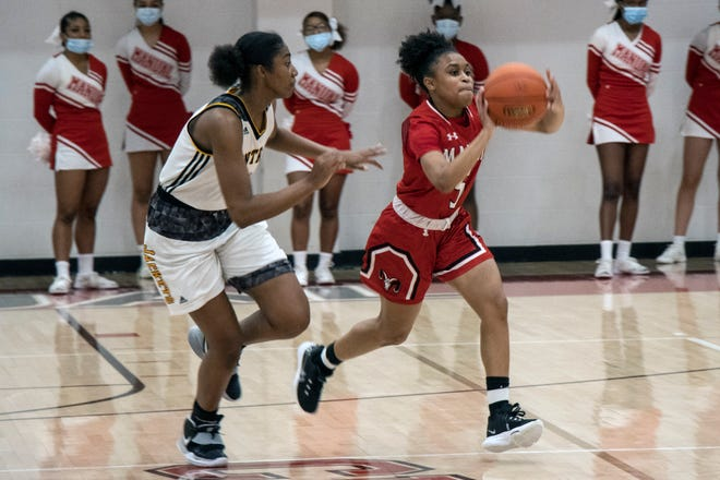 Manual's Sydne Tolbert gets the pass off against Central in a district finals game on Thursday night. 3/18/21