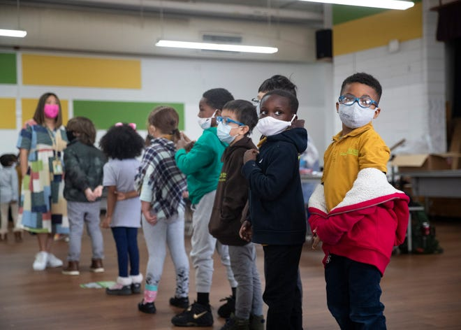 Libertas School of Memphis students stand in line for their Covid-19 test on Thursday, March 18, 2021.