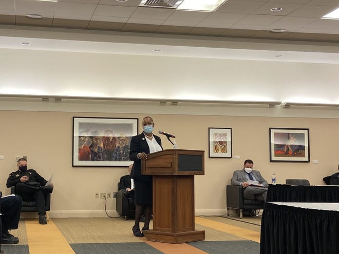 Sen. Lena Taylor, D-Milwaukee, testifies at a Senate Committee on Judiciary and Public Safety public hearing at the University of Wisconsin-Milwaukee's Student Union on Thursday, March 18.