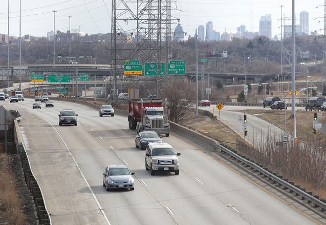 Traffic travels along I-94 looking east from Zablocki Drive in Milwaukee on Thursday, March 18, 2021.  Gov. Tony Evers is proposing an expansion of I-94 between 16th and 70th Streets from six lanes to eight lanes.  -  Photo by Mike De Sisti / Milwaukee Journal Sentinel via USA TODAY NETWORK