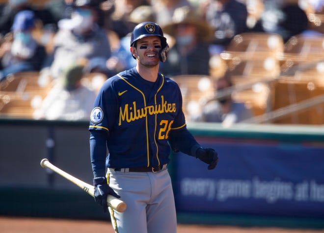 Brewers infielder Daniel Robertson reacts during a spring training game against the Chicago White Sox on Feb. 28.