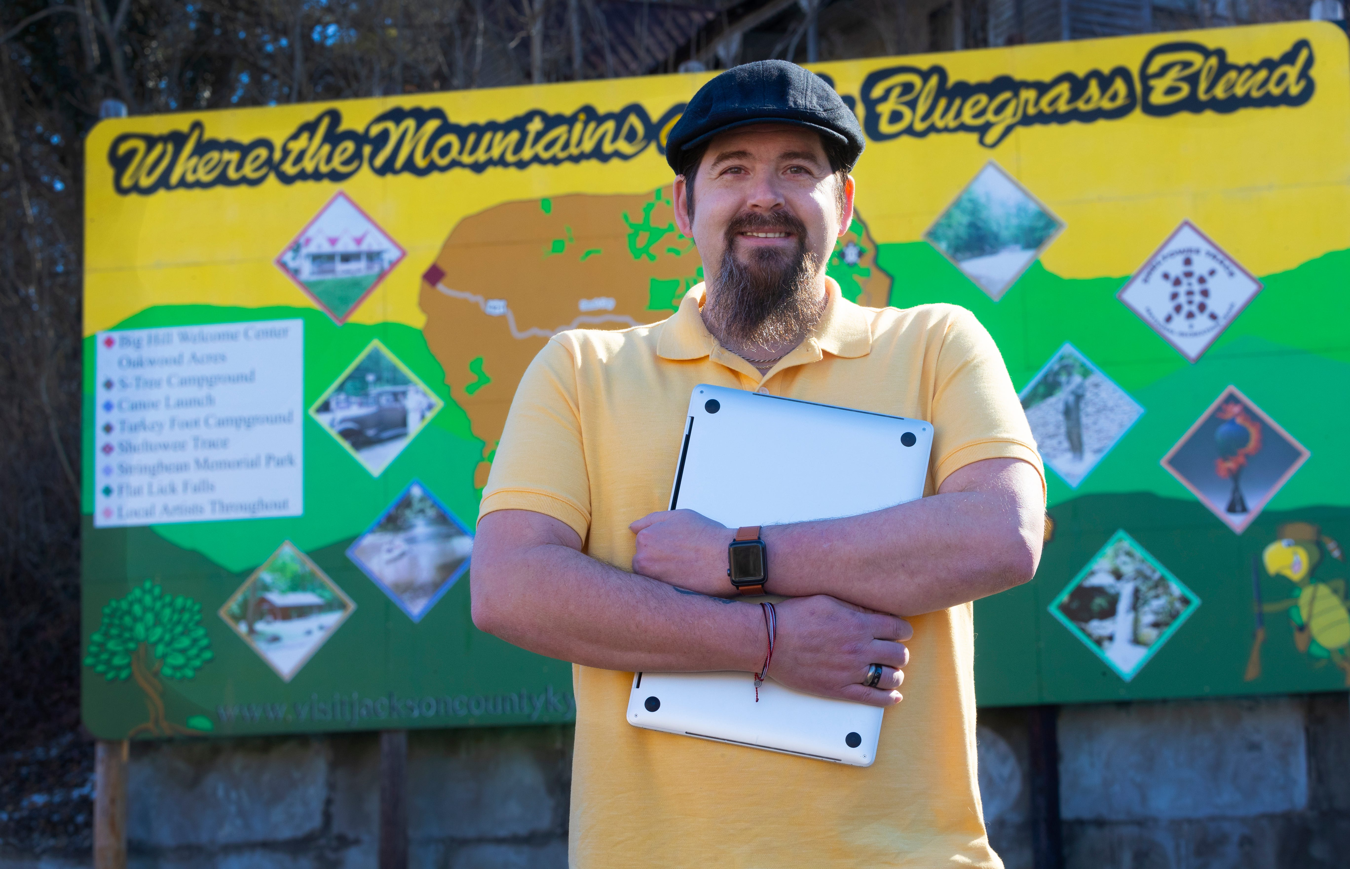Matt Muncy, of McKee, Kentucky, went from being nearly homeless to supporting his family with a good-paying job working at home, providing tech support for Apple.