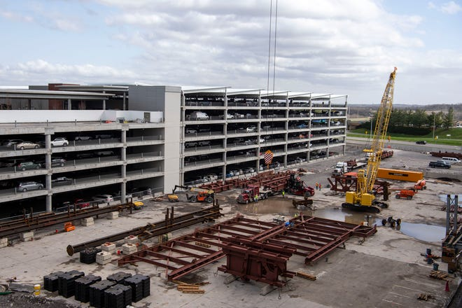 The construction site of a new parking garage and staging area for the construction of a new canopy over the terminal at Nashville International Airport on Thursday, March 18, 2021 in Nashville, Tenn. The airport is busier now with travelers than at any time since the COVID outbreak.
