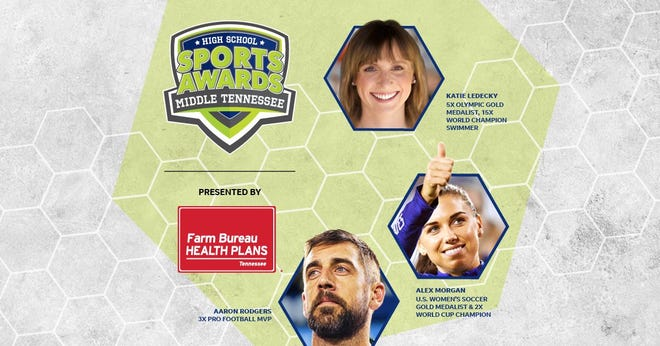 Three-time NFL MVP Aaron Rodgers, two-time FIFA World Cup Champion Alex Morgan and five-time Olympic gold medalist Katie Ledecky will be among a highly decorated group of presenters and guests for the Middle Tennessee High School Sports Awards.