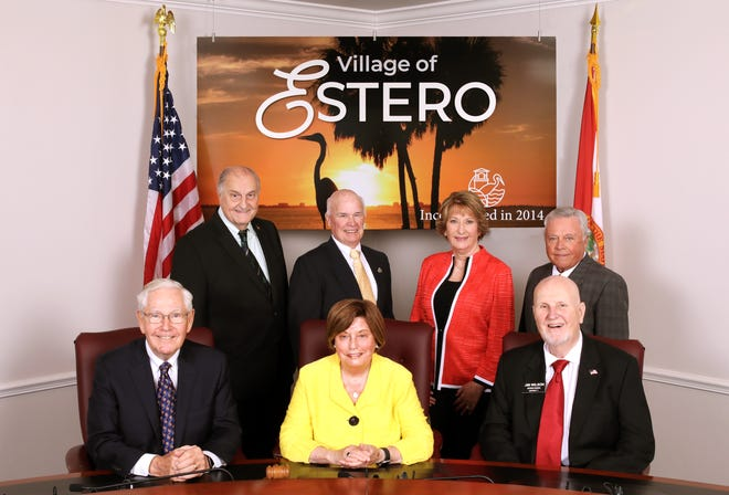 The 2021 Estero Village Council, from back left: Jim Boesch, Jim Ward, Joanne Ribble and Larry Fiesel. From front left: Jon McLain, Mayor Katy Errington and Jim Wilson.