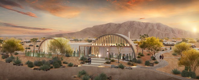 A rendering of AutoCamp Joshua Tree's planned Airstream resort in California's high desert, which is slated to open in fall 2021.