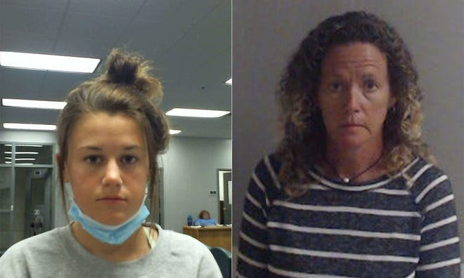 Mugshots of Emily Rose Grover, left and Laura Rose Carroll.