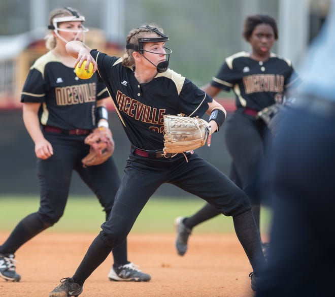 Pitcher Emmalie Langston (23) gets set to throw to first for an out on a comebacker during the Niceville vs West Florida softball game at West Florida High School in Pensacola on Wednesday, March 17, 2021.  The Eagles ultimately beat the Jaguars 4-1.