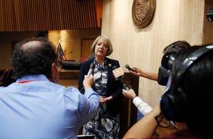 Arizona Senate President Karen Fann, R-Prescott, speaks to the media in Phoenix on May 26, 2020.