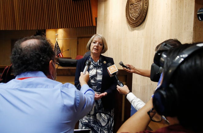 Arizona Senate President Karen Fann, R-Prescott, speaks to the media in Phoenix on May 26, 2020.