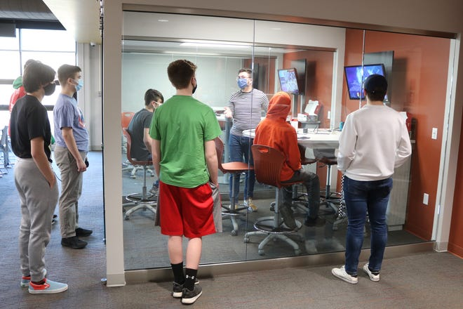 """Port Clinton High School's esports club practices two days a week in the media center, where they play their game of choice, """"Super Smash Bros. Ultimate"""" on the Nintendo Switch."""
