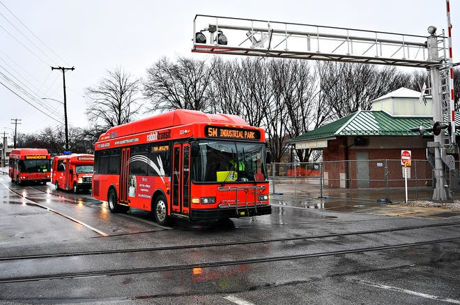 Rabbit Transit busses pass the York Bus Transfer Center from the West Princess Street side in York City, Thursday, March 18, 2021. Dawn J. Sagert photo