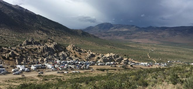 Dozens of campers converge on the Moon Rocks area north of Reno.