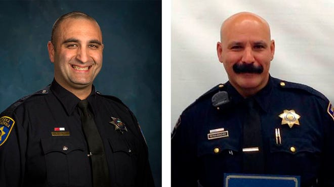 These undated images released by the Eureka Police Department show police officers in the Northern California town of Eureka, Calif., officer Mark Meftah, left, and Sgt. Rodrigo Reyna-Sanchez, both were put on leave Wednesday, March 17, 2021, while a third-party investigator reviews unofficial officer communications and misconduct statements allegedly made including, demeaning and violent messages sent in a private texting group.