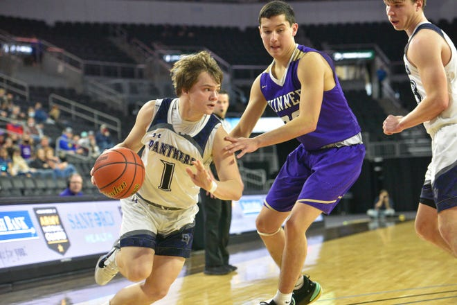 Chayce Montagne of Dakota Valley takes the ball to the rim against Winner on Thursday night at the Class A state tournament in Sioux Falls.