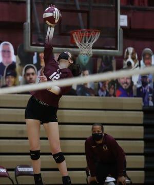Hen Hud defeats Ossining 3-1 in volleyball action at Ossining High School in Ossining on Thursday, March 18, 2021.