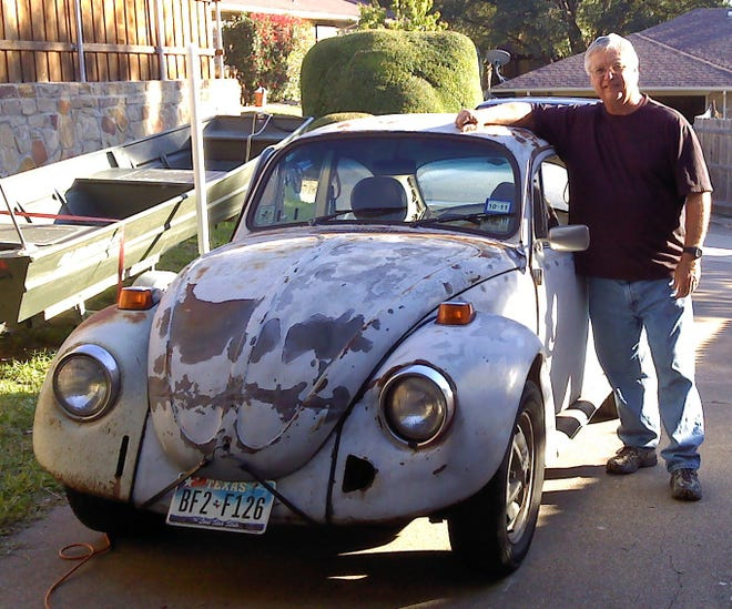 """A """"before"""" picture VW bug that Tinsley restored."""